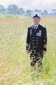 Grandfather in form, cap, ordens, medals stand attention  in field near wood