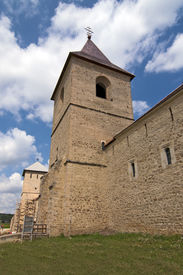 pic of suceava  - Wall and tower fortification of christian orthodox monastery in Dragomirna Suceava Moldova Romania - JPG