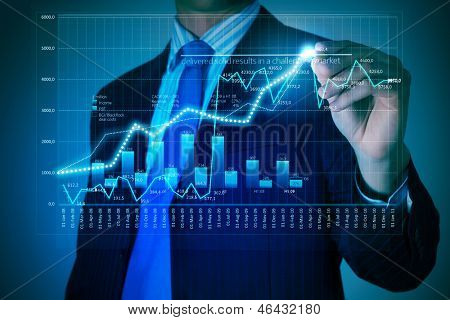 Closeup image of businessman drawing 3d graphics poster