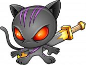 Ninja Warrior Kitten Cat Vector Illustration Art