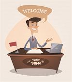 Manager in office. Retro style vector illustration