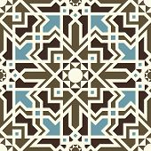Arabesque Seamless Pattern In Blue And Brown