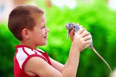 picture of curio  - teenage boy playing with rat pet - JPG