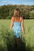 Back View Of A Blonde Woman Walking Across A Meadow