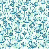 Lineart texture plants seamless pattern background