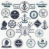 stock photo of sails  - Set Of Vintage Retro Nautical Badges And Labels - JPG