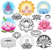 stock photo of om  - Set of lotuses and esoteric symbols - JPG