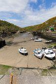 Boats in Porthclais harbour near St Davids Pembrokeshire West Wales