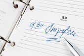 a date is entered in a calendar: vaccinate