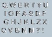 vector set of silver metallic fonts