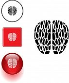 brain symbol sign and button