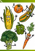 Vegetables Cartoon Illustration Set