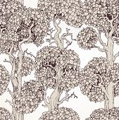 Seamless Pattern Of Enchanted Old Trees Graphic Draw