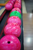 image of bowling ball  - Picture of bowling balls taken in bowling center