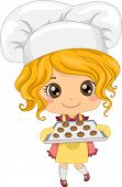 Illustration of Cute Little Girl Baking Cookies
