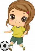 Illustration of Little Kid Soccer Girl kicking a Soccer Ball