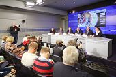 MOSCOW - AUGUST 15: Press conference before international basketball tournament cup name Gomelsky in