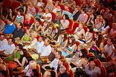 MOSCOW - AUG 3: Spectators of final competition Beauty of Russian Railways 2012 in auditorium of Cen