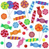 stock photo of lollipop  - Large Vector Set of Candy  - JPG