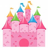 Cute EPS10 Vector Illustration of a pink Castle