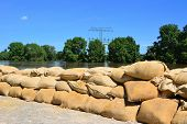 Sandbags on the River Elbe near Magdeburg