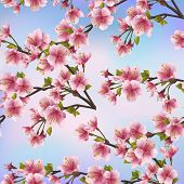 Background Seamless Pattern With Sakura Tree