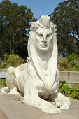Sphinx statue by Arthur Putnam in the  front of De Young Museum in Golden Gate Park