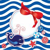 Funny Card With Whale, Buttons, Bow And Empty Frame For Text On Stripe Background