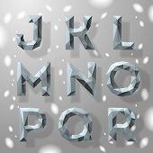 Trendy grey fractal geometric alphabet, part 2.