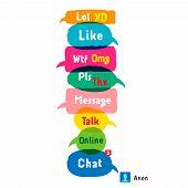 O mais comum usado siglas e abreviaturas em bolhas do discurso