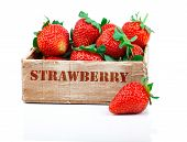Strawberries Berry In The Wooden Box, Isolated On White Background