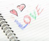 Love Written In Notebook.