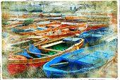 fotografía artística en el estilo de pintura - barcos en el puerto de Nápoles