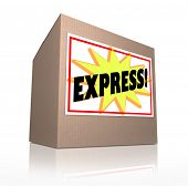 The word Express on a sticker labeled on a cardboard box to illustrate a shipment that has to be delivered fast via special quick shipping service