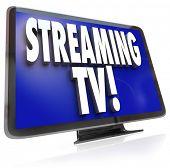 Die Worte legen Sie Streaming-TV auf einem HDTV-Fernseher zur Veranschaulichung herunterladen oder Piraterie der Programmie
