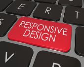 The words Responsive Design on a computer laptop key to illustrate the importance of best possible u