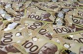 100 Canadian Dollar Banknotes.