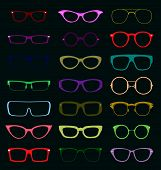 image of spectacles  - Collection of retro style glasses silhouettes in various styles - JPG