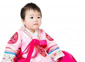 image of hanbok  - Asian baby girl wear traditional korean hanbok - JPG