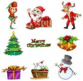 Illustration of the christmas decorations on a white background