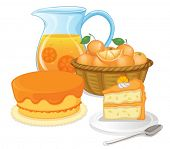 Illustration of cakes and juice drinks on a white background