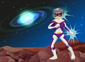 picture of outerspace  - Illustration of a male superhero at the outerspace - JPG