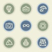 Travel web icon set 5, vintage buttons