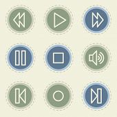 Media player web icon set, vintage buttons