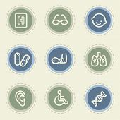 Medicine web icon set 2, vintage buttons