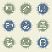 Drives and storage web icon set, vintage buttons