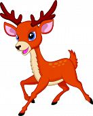 pic of deer horn  - Vector illustration of Cute deer cartoon running - JPG