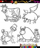 Sayings Cartoon Set For Coloring Book