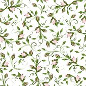 Seamless pattern with rose buds. Vector illustration.