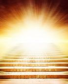 stock photo of climb up  - Stairway leading up to bright light - JPG
